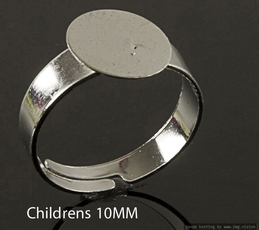 100 x Adjustable SILVER Plated CHILDRENS Size RINGS BASES BLANKS Pads 8mm 10mm